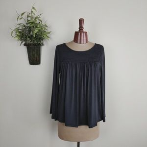 Lucky Brand Boho Peasant Pleated Bell Sleeve Top S